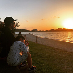 夕日 沖縄の夕日をみてまったり。幸せです。