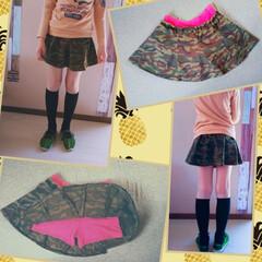 ファッション/ハンドメイド/子供服/ミニスカート/リメイク/おしゃれ/... キッズスカート👧リメイクしました🌷 これ…(1枚目)