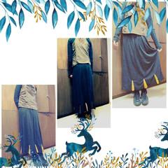 リメイク/ハンドメイド/ファッション/ロングスカート/おしゃれ/最近のコーデ 夏以外使えるロングスカート作りました😀 …