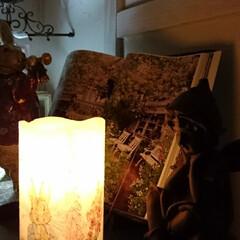 紙ナプキン/ピーターラビット/デコパージュ/LEDキャンドル/LED/ランプ/... 200円のLEDキャンドル(ダイソー)に…