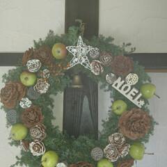 クリスマス/金子司/萩焼き/ステンドグラス/クリスマスリース/クリスマスツリー/... クリスマスリース作りました ヒムロ杉で作…