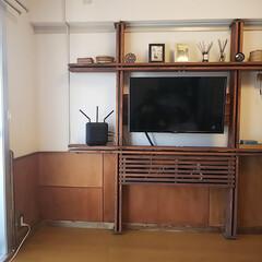 SPF材/飾棚/面格子/腰壁/DIY/100均/... 飾棚の配線隠しが完成‼️ ・・・構造上完…