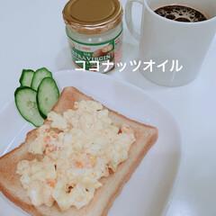 朝ごはん/おうちごはんクラブ たまごトースト 最近コーヒーにココナッツ…