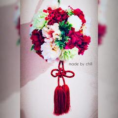 ハンドメイド/造花ブーケ/造花のフラワーボール/ブーケ/和装ブーケ/Flower/... 【和装ブーケ】 友人の結婚式に作りました…(1枚目)