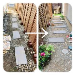 雑草対策/固める土/砂利/除草シート/ガーデン/庭づくり/... お庭づくり☆   写真1枚目…庭へのアプ…