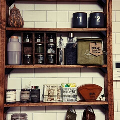 ディアウォール棚/キッチン壁紙/キッチン収納/キッチン雑貨/簡単/雑貨/... ディアウオールのキッチン棚  ちょっとず…