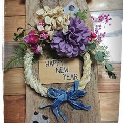 しめ縄/流木インテリア/キャンドゥ/ドライフラワー/フェイクグリーン/マンション玄関 流木としめ縄飾り  今年は流木にしめ縄を…