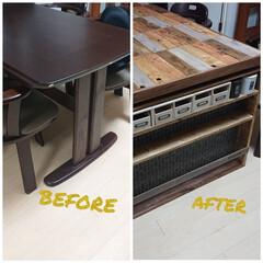 塗料 ターナー色彩 オールドウッドワックス OLD WOOD WAX 350ml*1/10__oww-350-   ターナー(ペンキ、塗料)を使ったクチコミ「いつでも 元に戻せる テーブルリメイク …」
