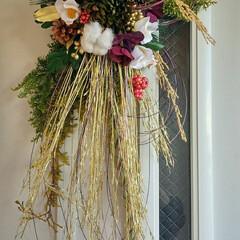 しめ飾り 今年のしめ飾り。 クリスマスで使ったヒバ…