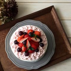 デコレーションケーキ/生活雑貨/レシピ ひな祭りの日に作ったピンクのフリルケーキ…