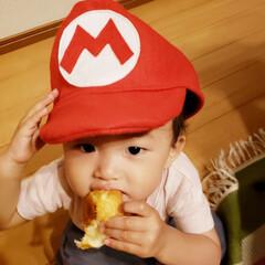 フェルト/手作り/帽子/マリオ 職場の人から貰った手作りマリオ帽子☆ 1…