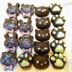 手作りチョコ/動物チョコレート/可愛い動物チョコ/甘いもの/チョコレート バレンタインの時期に、ダイソーで、買った…