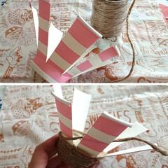 かご/オレガノミルフィーユリーフ/ダイソー/麻ヒモ/紙コップ/ハンドメイド/... 紙コップと麻ひもで カゴを作ってみました…(2枚目)