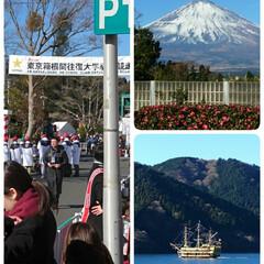 箱根駅伝/ゴール/芦ノ湖/富士山/お正月2020/おでかけ/... 毎年2日は駅伝を見に箱根へ 寒いけどいい…