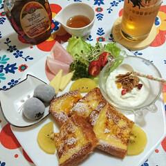 フレンチトースト/朝ごパン/おうちごはん/節約 おはようございます😊 お休みで ちょっと…