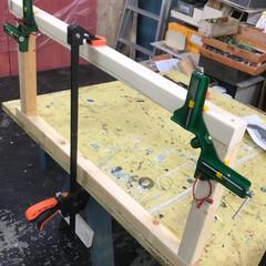 DIY/カウンター/手作りカウンター/家具/角材/コーナークランプ/... 4月のマルシェに向けてカウンターを作成中…