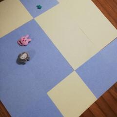 タイルマット タイルカーペット 吸着 床暖房対応 撥水タイルマット 無地 8枚入 30×30cm おくだけ吸着 サンコー(カーペット、マット)を使ったクチコミ「今日は、マットを洗ってみました。綺麗にな…」