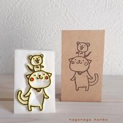 スタンプ/年賀状/ネズミ/ねこ/手作り/消しゴムはんこ/... ネコとネズミ 仲良しはんこ♪♪♪