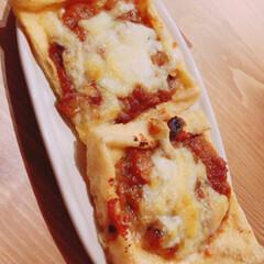 わたしのごはん/ご飯/白米/ピザ/うちご飯/ご飯のお供 私の姉妹が作った鯖味噌ピザです! ピザと…