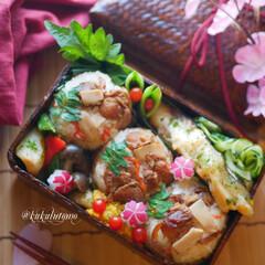 ランチボックス/お弁当/ランチ/お弁当箱/春のお弁当 帆立たけのこおにぎり弁当 真鯛のフライに…(1枚目)