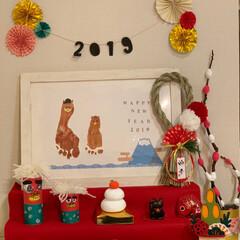 足形アート/工作/お正月飾り/お正月/鏡餅/紙粘土/... お正月飾り🎍 4歳の息子と一緒に手作り …