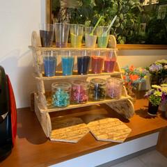 カラーサンド/雑貨/OSBボード/アクセサリー収納/アクセサリースタンド/アクセサリー/... 雑貨屋さんでカラーサンドを飾ってもらった…