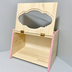 棚/ハンドメイド/木工/スパイスラック/ブレッドボックス/雑貨/... 窓付きのボックス棚作りました。 木口のみ…(2枚目)