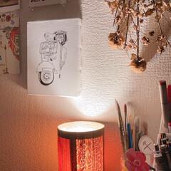 ノーブランド/オシャレ/照明器具/ルームライト/ハンドメイド/DIY/... デスク周りです。  絵を描く時に楽しい気…(1枚目)