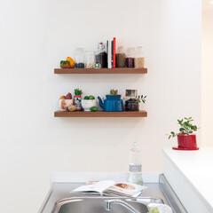 nankaiplywood/南海プライウッド/収納生活/収納/建材/内装材/... シンク横の空いている壁面に飾り棚を2段設…