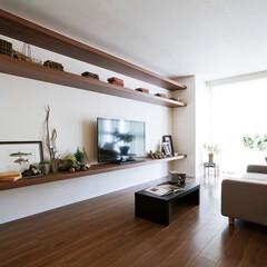 nankaiplywood/南海プライウッド/収納生活/収納/建材/内装材/... 3段に重ねたシンプルなテレビボード。 圧…