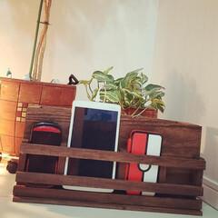 ダイソー木材/工具不要/ウォールナット/ゲーム機収納/タブレット収納/スマホスタンド/... ダイソー木材とボンドで手持ちのスマホ、タ…(1枚目)