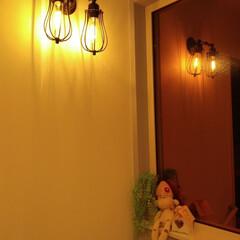 アンティーク/アイアン/階段/エジソンバルブ/照明/インテリア/... 階段のブラケット照明 アイアンのアンティ…