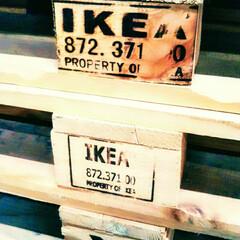 IKEA/パレット/烙印/工業デザイン/木製/こだわり IKEAの倉庫で商品の土台となる木製パレ…