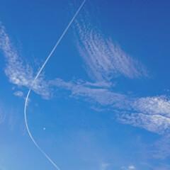 はじめてフォト投稿/風景 大切な日。  青空と飛行機雲と月がとって…