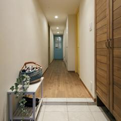 マンション シンプルな造りの玄関には天井まで届く、大…