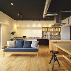 マンション/二世帯 天井のダークカラーと配管・配線のメタルカ…
