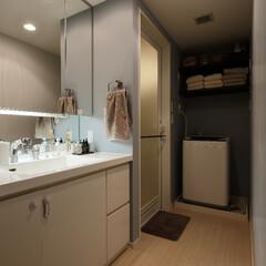 マンション 大きな鏡が印象的な清潔感のある洗面室です…