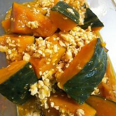 甘辛/作り置きおかず/かぼちゃの煮物/煮物 かぼちゃとひき肉の煮物  水とき片栗粉で…