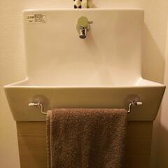 朝 余裕ぶちかましてる私 笑/息子弁当お休み中/タニタの体重計/400円/トイレ/ガチャポン 我が家のトイレの手洗い  ガチャポンフィ…(1枚目)