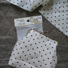 ハンドメイド/暇つぶし/お裁縫/ハギレ活用/がま口金/セリア 端切れの布で  作ってみました(๑¯◡¯…