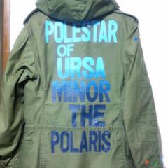 カッティングシート/洋服/ペイント/ハンドメイド ミリタリーのジャケットに文字をペイントし…