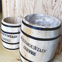 コーヒー樽/ゴミ箱/キッチン/インテリア/カフェ風 うちのゴミ箱はコーヒー樽を使っています!…