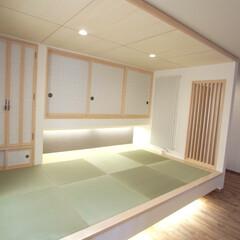 札幌/戸建/リノベーション/和室 リビング横の畳スペースをフロートさせてみ…