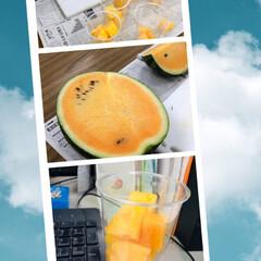 差し入れ/尾花沢スイカ/サマーオレンジ/至福のひととき/みんなにおすすめ 会社で上司からお土産🍉 尾花沢スイカのサ…