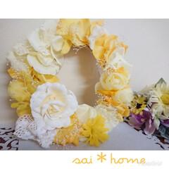 アーティフィシャルフラワー/バラ/プレゼント/エレガント/黄色/イエロー/... アーティフィシャルフラワーのバラをあしら…