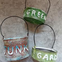 ジャンク/リメイク缶/DIY/雑貨/インテリア/ハンドメイド お花や多肉植物が楽しめるように🌹🍀文字入…