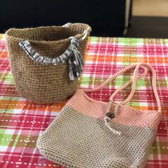 ありがたや/職場の友/お散歩バック/プレゼント/編み物 最近🏠時間が増えて、編み物にハマっている…