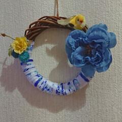 セリア/ブルー/春色/🍘/小鳥/幸せ/... 黄色い小鳥🐦さん 幸せ☘️を運んで来てお…