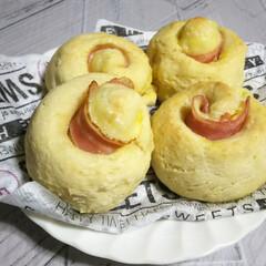 簡単レシピ/豆腐レシピ/ホケミ/手作りパン/豆腐パン/おうちカフェ/... お豆腐とホケミでベーコンとチーズの渦巻パ…(1枚目)