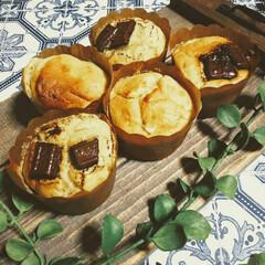 バスク風チーズケーキ/わらび餅/バナナケーキ/手作りおやつ/おやつタイム/おうちカフェ/... おうちカフェ☕️  1枚目 バナナカップ…